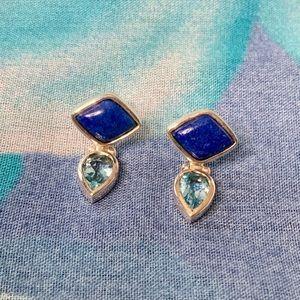 Sterling Lapis and Blue Topaz Earrings